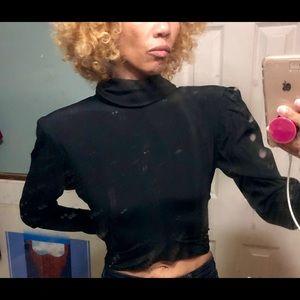 Vtg Ungaro France black crop high neck shirt top s